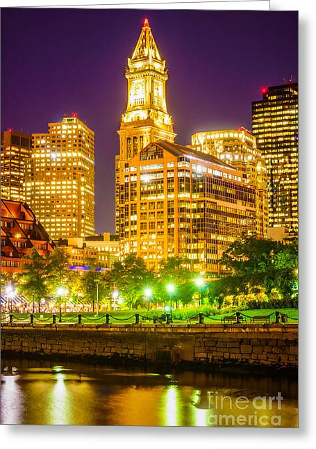 Outside Pictures Greeting Cards - Boston Cityscape at Night Greeting Card by Paul Velgos