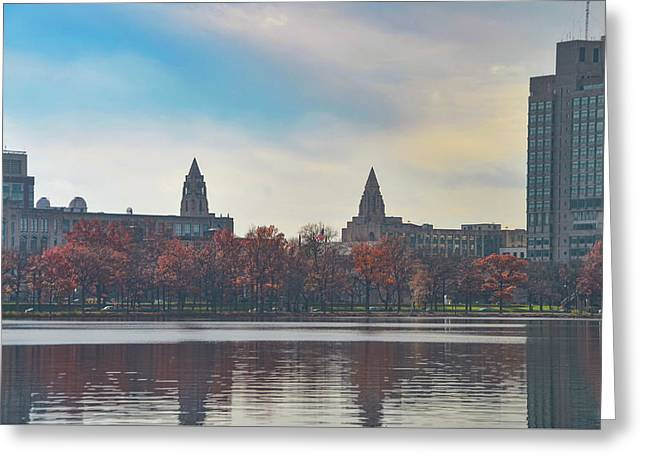 Boston College From The Charles River Greeting Card by Bill Cannon