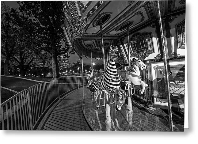Boston Common Carousel Boston Ma Black And White Greeting Card by Toby McGuire