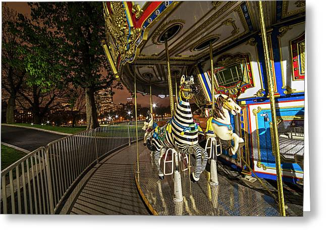 Boston Common Carousel Boston Ma Greeting Card by Toby McGuire