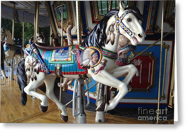 Amusements Greeting Cards - Boston Common Carousel Horse Greeting Card by Gina Sullivan