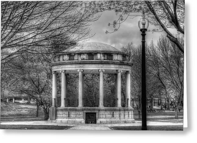 Bandstand Greeting Cards - Boston Common Rotunda - Black and White Square Greeting Card by Joann Vitali