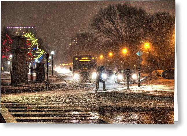 Boston Common Snowstorm Ma Greeting Card by Toby McGuire
