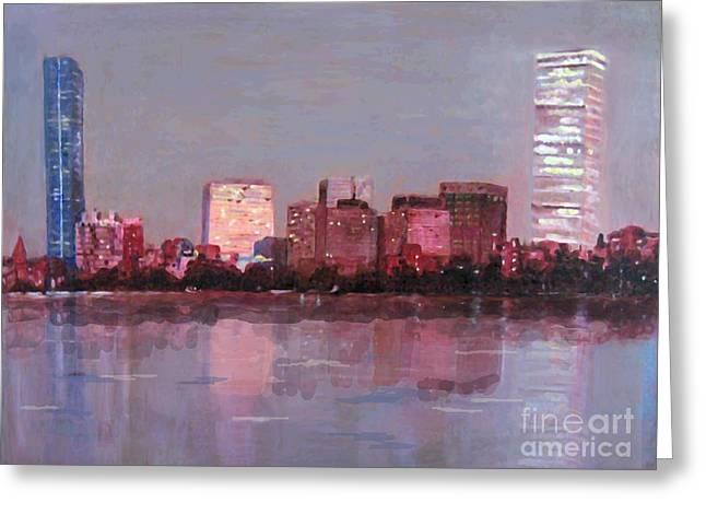 Boston Evening Greeting Card by Lyn Vic
