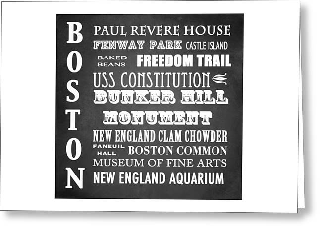 Fenway Park Greeting Cards - Boston Famous Landmarks Greeting Card by Patricia Lintner
