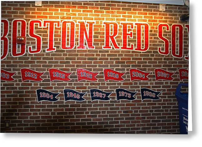 Boston Red Sox Prints Greeting Cards - Boston Fenway Park Championship Mural Greeting Card by Juergen Roth
