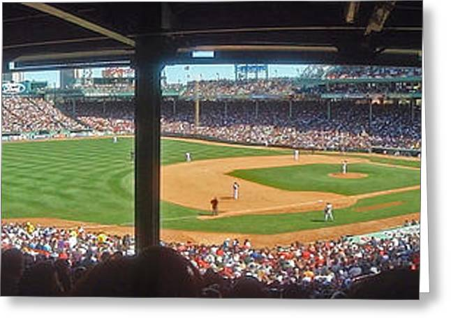 Press Box Greeting Cards - Boston Fenway Park Greeting Card by Juergen Roth