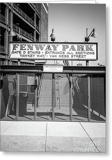 Boston Fenway Park Sign Black And White Photo Greeting Card by Paul Velgos