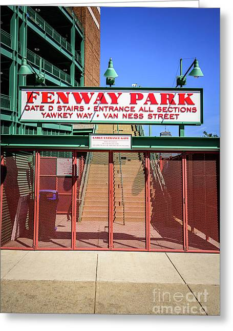 Boston Fenway Park Sign Gate D Entrance Greeting Card by Paul Velgos