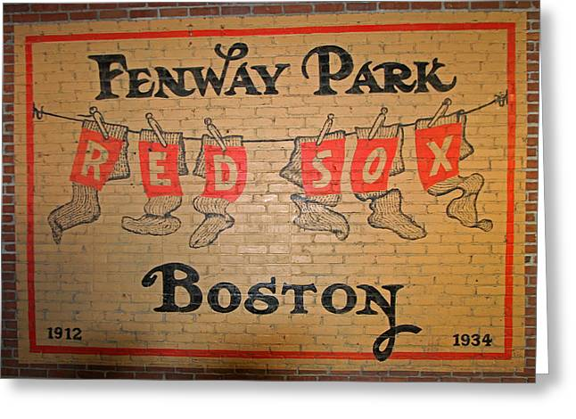 Boston Red Sox Prints Greeting Cards - Boston Fenway Park Vintage Sign Greeting Card by Juergen Roth
