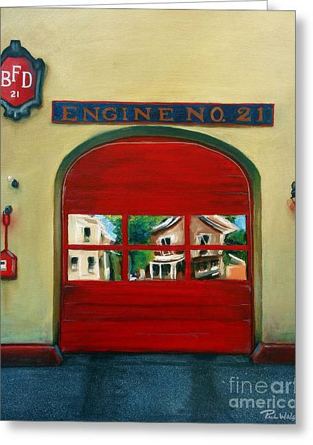 House Fires Greeting Cards - Boston Fire Engine 21 Greeting Card by Paul Walsh