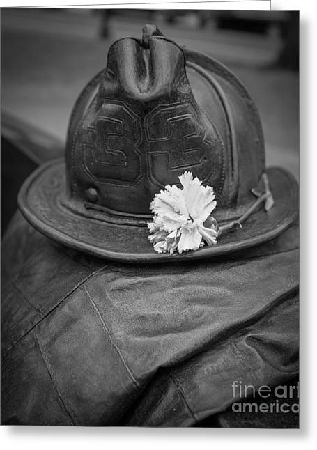 Dedications Greeting Cards - Boston Fireman Memorial Back Bay Greeting Card by Edward Fielding