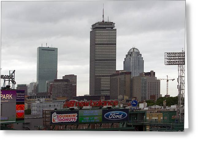Boston Red Sox Greeting Cards - Boston from Fenway Greeting Card by Ray Konopaske