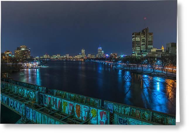 Charles River Greeting Cards - Boston from the Boston University bridge Greeting Card by Bryan Xavier