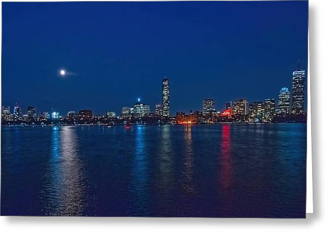 Boston Ma Greeting Cards - Boston Full Moon on a blue night. Greeting Card by Larry  Richardson