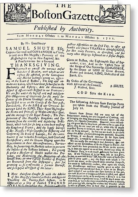 Front Page Greeting Cards - Boston Gazette, 1721 Greeting Card by Granger