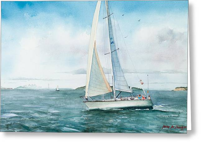 Sailboat Ocean Greeting Cards - Boston Harbor Islands Greeting Card by Laura Lee Zanghetti