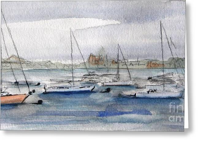 Boston Harbor  Greeting Card by Julie Lueders