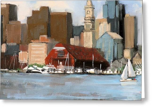 Motor Boats Greeting Cards - Boston Harbor Greeting Card by Laura Lee Zanghetti