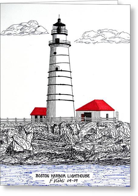 Boston Harbor Lighthouse Dwg Greeting Card by Frederic Kohli