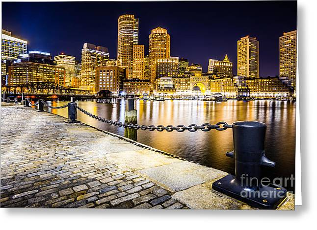 Boston Harbor Skyline At Night Picture Greeting Card by Paul Velgos