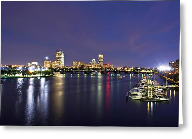 Boston Harbor Skyline Greeting Card by Joann Vitali