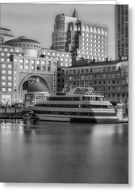 Wharf Greeting Cards - Boston Harborwalk Daybreak BW Greeting Card by Susan Candelario