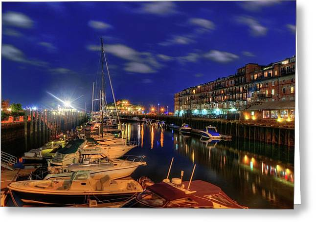 Boston Long Wharf At Night Greeting Card by Joann Vitali