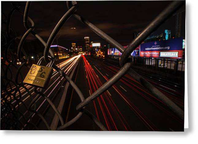 Boston Love Lock Overlooking The Mass Pike Bu Boston Ma Greeting Card by Toby McGuire