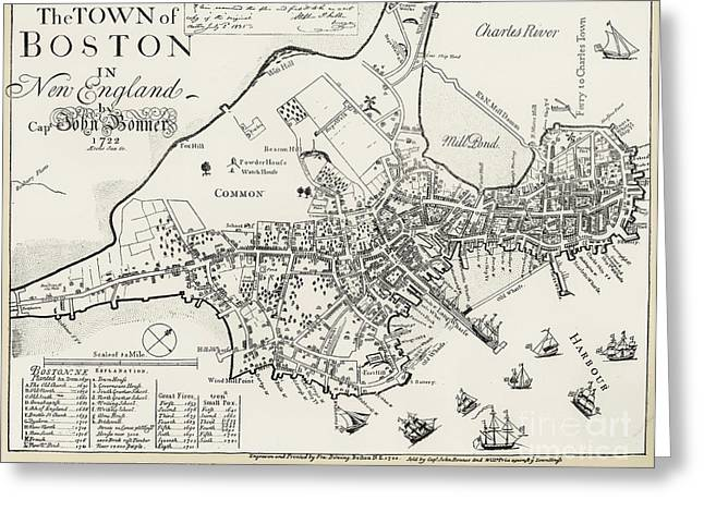 BOSTON MAP, 1722 Greeting Card by Granger