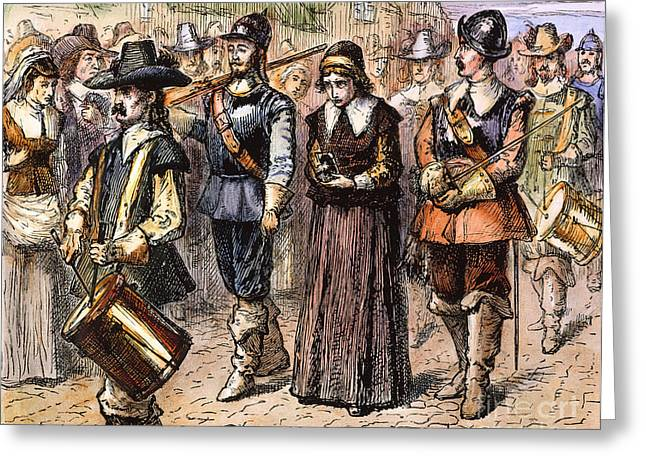 Gallows Greeting Cards - Boston: Mary Dyer, 1660 Greeting Card by Granger