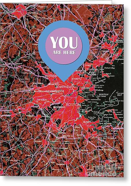 Boston Massachusetts 1948 Red Old Map You Are Here Greeting Card by Pablo Franchi