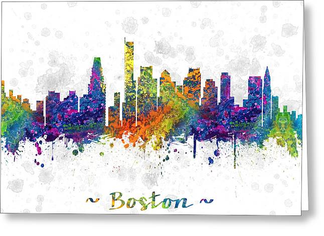 Boston Skyline Greeting Cards - Boston Massachusetts color 03SQ Greeting Card by Aged Pixel