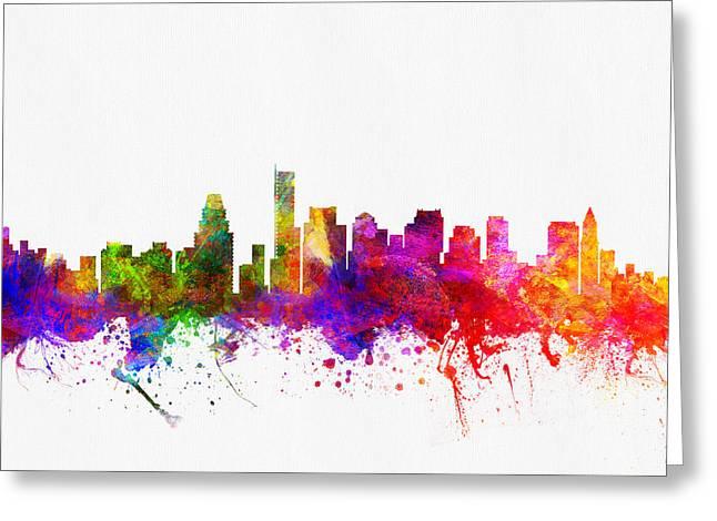 Boston Digital Art Greeting Cards - Boston Massachusetts skyline color02 Greeting Card by Aged Pixel