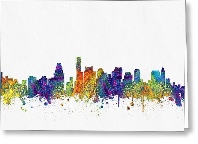 High Rise Greeting Cards - Boston Massachusetts skyline color03 Greeting Card by Aged Pixel