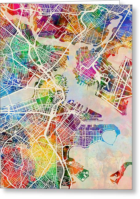 Streets Digital Greeting Cards - Boston Massachusetts Street Map Greeting Card by Michael Tompsett