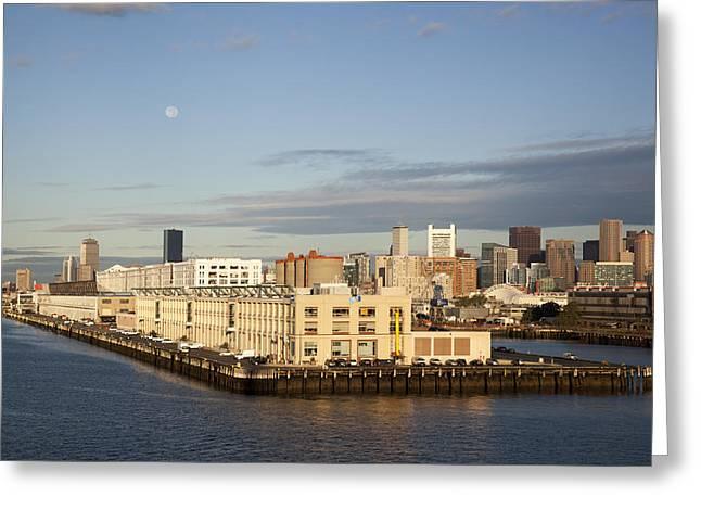 Modern Photographs Greeting Cards - Boston Moonlight Greeting Card by Ramunas Bruzas