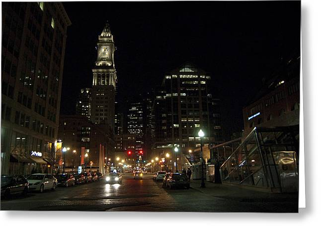 Citys Greeting Cards - Boston Night Greeting Card by Juan Potts