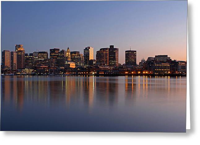 Custom House Tower Greeting Cards - Boston Night Greeting Card by Juergen Roth