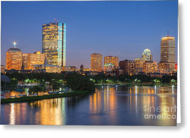 New England Lights Greeting Cards - Boston Night Skyline II Greeting Card by Clarence Holmes