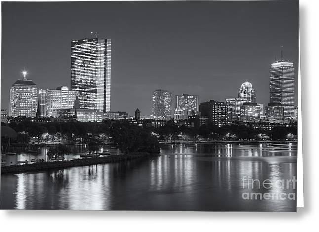 Time Exposure Greeting Cards - Boston Night Skyline V Greeting Card by Clarence Holmes