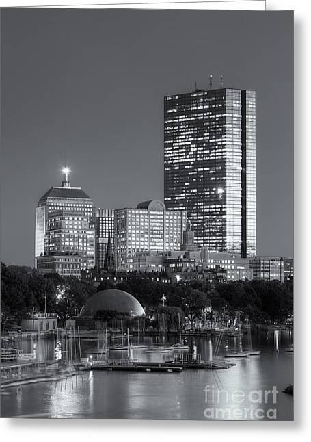 Charles River Greeting Cards - Boston Night Skyline VIII Greeting Card by Clarence Holmes