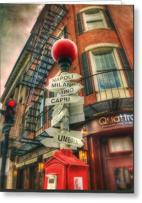 Italian Restaurant Greeting Cards - Boston North End Italian Cities Sign Greeting Card by Joann Vitali