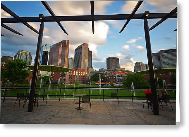 Exposure Greeting Cards - Boston North End Park Fountains Greeting Card by Toby McGuire