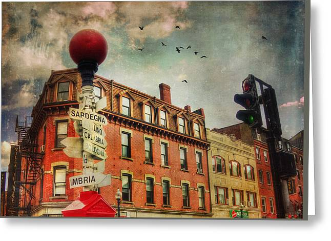 Illuminate Greeting Cards - Boston North End - VintageArt Greeting Card by Joann Vitali
