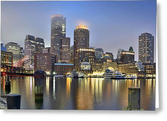 Charles River Greeting Cards - Boston on a foggy evening Greeting Card by Brendan Reals