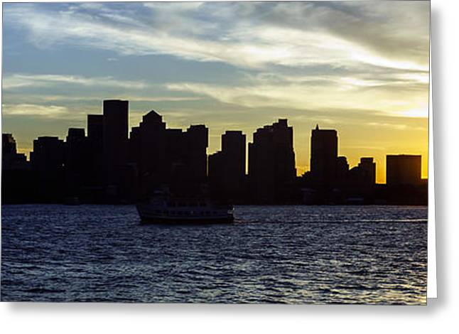 Boston Harbor Greeting Cards - Boston Panoramic Skyline Sunset Picture Greeting Card by Paul Velgos