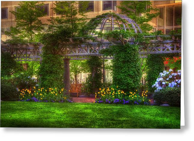 Office Space Photographs Greeting Cards - Boston Park - Post Office Square - Boston Greeting Card by Joann Vitali