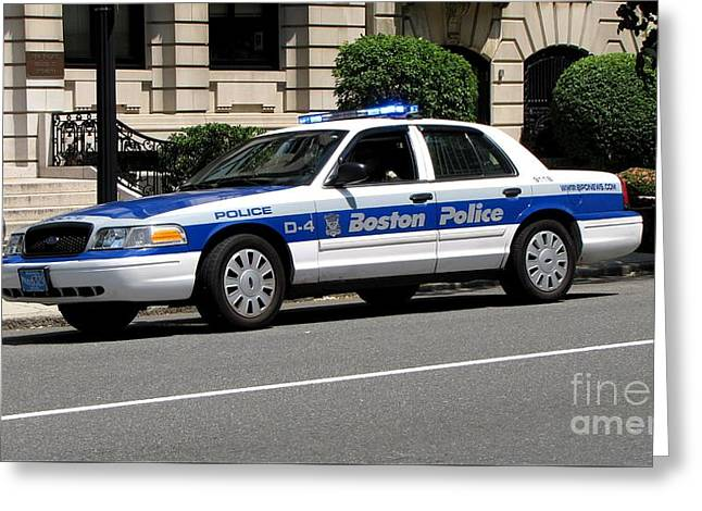 Police Cruiser Greeting Cards - Boston Police cruiser Greeting Card by Ben Schumin