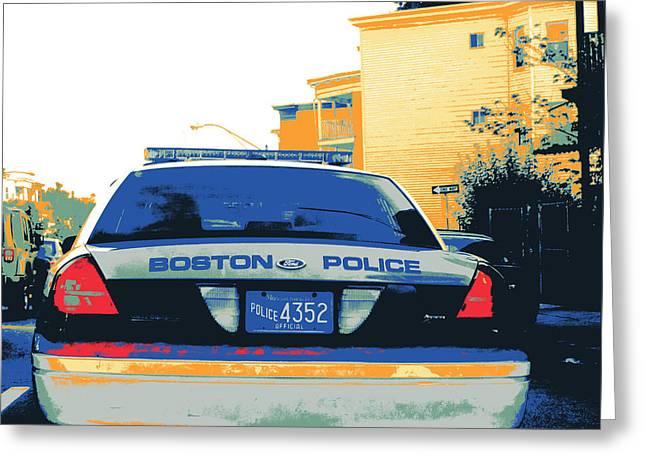 Police Mixed Media Greeting Cards - Boston Police Cruiser Greeting Card by Shay Culligan